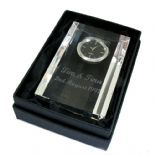 Small Optical Crystal Mantle Clock, personalised, ref CMCS